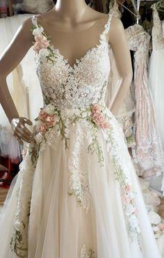 Colored Wedding Gowns, Wedding Dresses With Flowers, Designer Wedding Dresses, Rose Dress, Ivory Wedding, White Light, Dream Dress, Beautiful Dresses, Dream Wedding