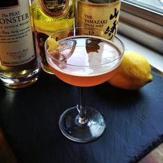 Osakan Summer 2oz Yamazaki .25oz Strega .25oz  Amaro Nonino .5oz Meyer Lemon Juice .33oz Honey Syrup 2 dashes Peychaud's Bitters Peat Monster (rinse) Flamed Lemon Twist