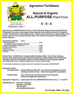 """Agrowinn's """"All Purpose Plant Food"""" is a plant food that is scientifically formulated to provide a wide range of plant species with a balanced and complete diet. This complete plant food will invigorate your outdoor plants resulting in superb foliage color, prolific blooms, and consistent growth rates. Agrowinn's """"All Purpose Plant Food"""" will also improve soil quality as it feeds your plants and trees. This complete plant food is great for feeding potted plants outdoors."""