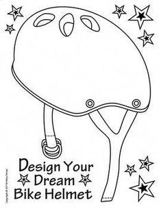 Helmet Craft. Printable found on website. Kids can