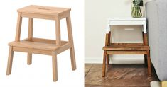 We love Ikea, but sometimes we need a little something more. We rounded up our 15 favorite Ikea hacks, so you can become a DIY Ikea hacker and transform your items from basic to chic. Ikea Step Stool, Diy Stool, Bench Stool, Ikea Furniture Hacks, Eco Furniture, Furniture Removal, Dipped Furniture, Ikea Bekvam, Bekvam Stool