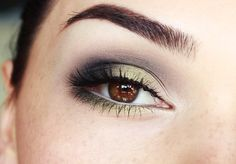 Gold eyeshadow. Brown eyes