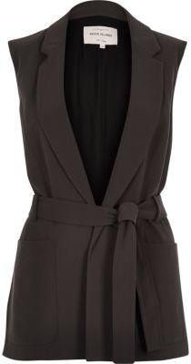 River Island Womens Dark grey belted sleeveless jacket - $60.00