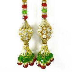 Golden Traditional Tassel Blouse Sari Trim by Indianbeautifulart