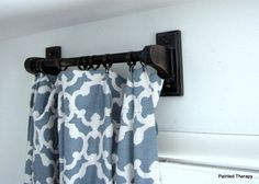 making curtain rods out of towel bars, home decor