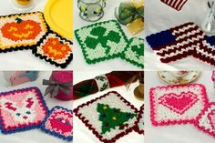 Ravelry: Wiggly Hot Pads & Coasters pattern by Susan Lowman Crochet Chart, Crochet Stitches, Crochet Hooks, Free Crochet, Wiggly Crochet Patterns, Crochet Hot Pads, Crochet Potholders, Crochet Coaster, Crochet Squares