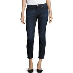 Karl Lagerfeld Paris Women's The Karl Cropped Skinny Jeans ($36) ❤ liked on Polyvore featuring jeans, medium wash denim, zip jeans, skinny fit jeans, zipper fly jeans, skinny leg jeans and white skinny jeans