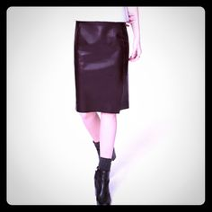 """NWT  LOFT Faux Leather Pencil Skirt - 4/6 Highly rated """"just edgy enough"""" soft, high quality, faux leather pencil skirt.  Front seaming with side slit.  Elasticized waist and back zip.  Raw edges on front seaming and hemline.  100% Polyurethane with soft, sueded interior.  Unlined.  Called """"Plum Raisin"""" but is a rich brown color.  Size 6 - fits 4/6.  Waist 30"""" Length 26"""".   Will add more pictures soon! LOFT Skirts Pencil"""
