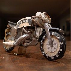 Miniature Motorcycles Using Vintage Watch Parts