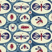 Insects in a Blue blink fabric by verycherry, click to purchase