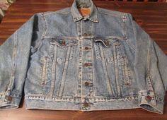 Vtg 80s Levi Denim Trucker Jacket 4 Pocket Blue Color Small Size  #Levi #JeanJacket