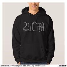 208 Hoodie – Old English 208 Area Code Sweatshirt