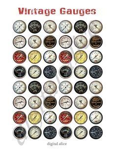 VINTAGE METERS and GAUGES Craft Circles by DigitalAlice on Etsy