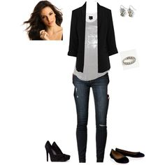 Polished Casual: sequin top and blazer with jeggings, with flats or heels, depending. Easy outfit for a night out.  created by helloseattle21 on Polyvore