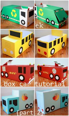 Box Car Tutorial {Part 2 – larger truck} Thanks for your interest in our box vehicles and for your patience while waiting for this tutorial. These larger trucks each use nappy/diaper boxes, for cars using only one box see Part 1 ̵… Cardboard Car, Cardboard Crafts, Cardboard Playhouse, Cardboard Furniture, Kids Crafts, Diy And Crafts, Recycled Crafts, Easy Crafts, Children Toys