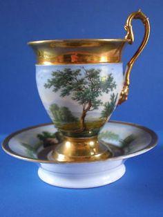 Antique Old Paris Porcelain Vieux Paris Cabinet Cup Saucer   eBay