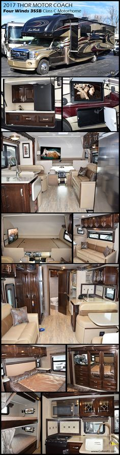This 2017 Thor Motor Coach Four Winds Super C 35SB motorhome features a full wall slideout, king size bed, exterior kitchen and more! The powerful diesel engine provides the strength and towing capacity you need to start your journey while the extra-large living areas allow you to take everyone along for the ride of a lifetime. Endless sleeping areas including a dream dinette, sofa, cab-over bunk, bunk beds and rear master bedroom.