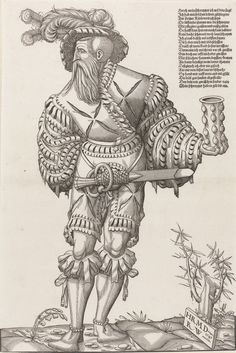 Artist: Deutsch, Hans Rudolf Manuel and Wyssenbach, Rudolf, Title: A Landsknecht with a Glass, Date: 1547