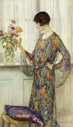 Arranging Flowers by William Henry Margetson - Arranging Flowers Painting - Arranging Flowers Fine Art Prints and Posters for Sale Art And Illustration, Art Floral, Fine Art Amerika, Woman Painting, Beautiful Paintings, Female Art, Art History, Flower Art, Flower Arrangements