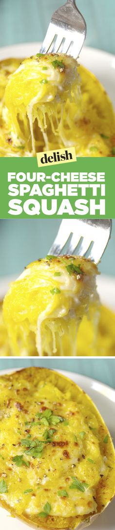 Four-cheese spaghetti squash is our favorite alternative to carb-heavy pastas. Get the recipe on Delish.com.