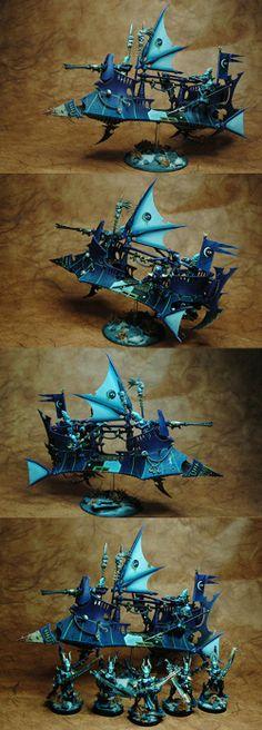Dark Eldar Incibus on Raider. Wargear: prow/dark-lance; trophy-rack; flicker-field; shock-prow.