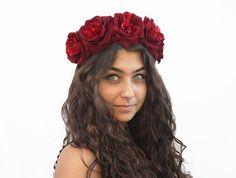 Burgundy Red Rose Crown -  Day of the Dead, Dia De Los Muertos Flower Crown, Rose Floral Crown, Frida Kahlo, Oxblood, Festival Wear
