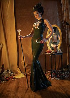 Latex Rubber Long Gown Dress with Corset Lacing By VEX by vexlatex, $700.00