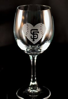 Giants Wine Glasses. His  Hers San Francisco Giants Baseball and Baseball Heart Custom Etched Wine Glasses - Set of 2
