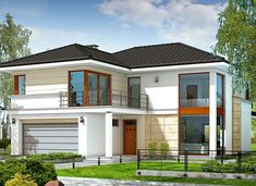 Riwiera - zdjęcie 1 Modern Architectural Styles, Architectural House Plans, Two Story House Design, Small House Design, Bungalow House Design, Modern Bungalow, One Storey House, Looking For Houses, Modern Minimalist House