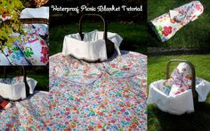 DIY waterproof picnic blanket!--I'd like to try this for an outdoor tablecloth