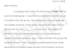 The perfect letter for thanking parents for your great school year.  This product is editable, in a Microsoft Word Document.  You can insert grade level and student name.  Perfect sums up the school year!
