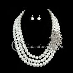 Wedding Necklace Set Side Accent Triple Pearl Strands