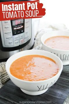 How to make a creamy, dairy-free, gluten-free tomato soup made in the Instant Pot. Less than 5 minutes of active prep time and chock full of healthy nutrients