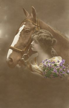 Vintage lady with horse
