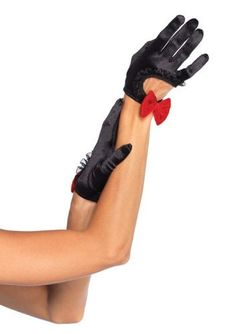 Leg Avenue Womens Satin Cut Out Cropped Gloves with Velvet Bow Black One  Size    773691bb0b
