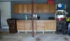 We used our old kitchen cabinets in our garage organization plans.