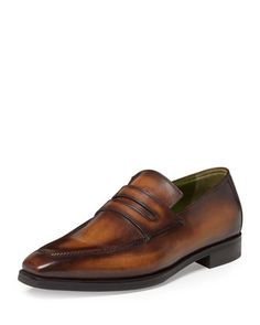 Andy Leather Penny Loafer, Tobacco by Berluti at Neiman Marcus.