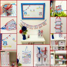 Owl Themed Class Room Decor (printable) from Speech Room Style.