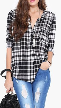 Plaid Blouse in Grey
