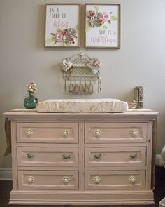 What a pretty painted pink dresser!