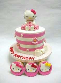 Hello Kitty cake Hello Kitty Themes, Hello Kitty Cake, Hello Kitty Birthday, Rope Lighting, Sanrio, First Birthdays, Cakes, Party, Desserts