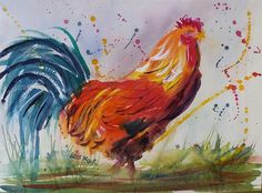 Watercolour. Love throwing paint around! and painting roosters.