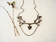 Bronze Twig Necklace Branch Necklace Rustic Wedding Nature