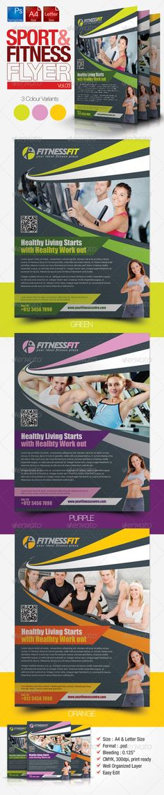 Fitness Flyer Vol.3  #8.5x11 #asthetic #living • Click here to download ! http://graphicriver.net/item/fitness-flyer-vol3/2758427?ref=pxcr