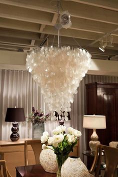 Vintage capiz shell chandelier home accessories pinterest capiz shell chandelier 30 dia worlds away to replace our smaller one mozeypictures Gallery