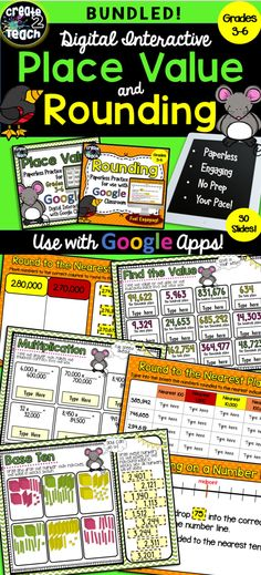 What a fun, engaging way for your students to practice their place value and rounding skills, while at the same way, integrating technology! This bundled digital resource is a Google Drive file with 30 interactive slides for exploring place value and rounding.