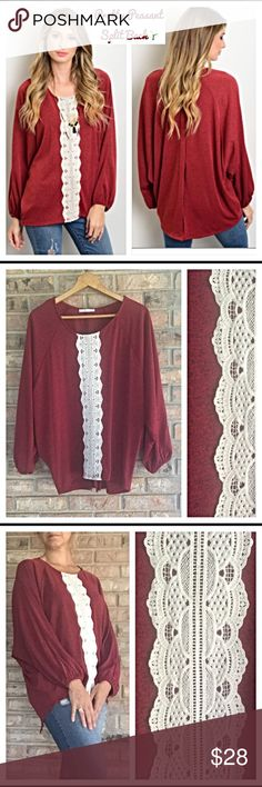 "Peasant HiLow split back lace panel top S/M Beautiful comfortable soft stretchy maroon/black speckled Marled hi-low split back peasant top with Ivory crochet lace panel & dolman sleeves. - Nice quality material 96% Polyester 4% Spandex Small & Large New from maker without tags 🍃🍃🍃🍃 Marled Knit Measurements laying flat: Marked Small But Will Fit Medium Pit to pit 25"" Front length 25"" Back 29"" Tops Blouses"