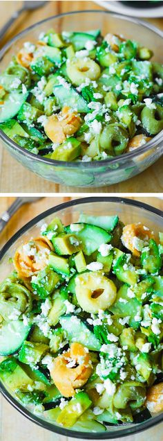 Greek Tortellini Salad with Avocados and Cucumbers in a creamy Greek Salad Dressing. Light and healthy vegetarian recipe: full of fiber and healthy dietary fats! JuliasAlbum.com #pasta_salads #pasta_recipes