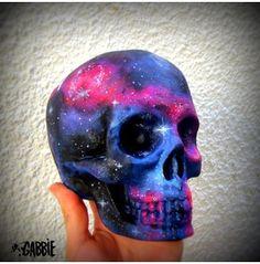 Galaxy Ceramic Skull Space, Stars, Cosmic, Alien Style Original Art Custom Painted One Kind!