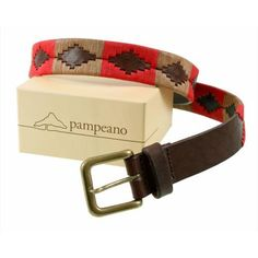 Pampeano s Luxury Hand Stitched Polo Belt - Fuego is Hand stitched and made with the finest vegetable tanned leather in Argentina Red and Beige With